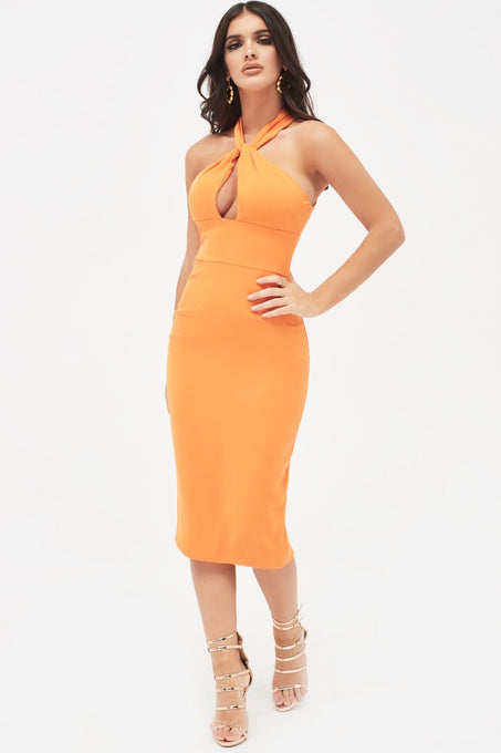 Halterneck Twisted Midi Dress in Orange