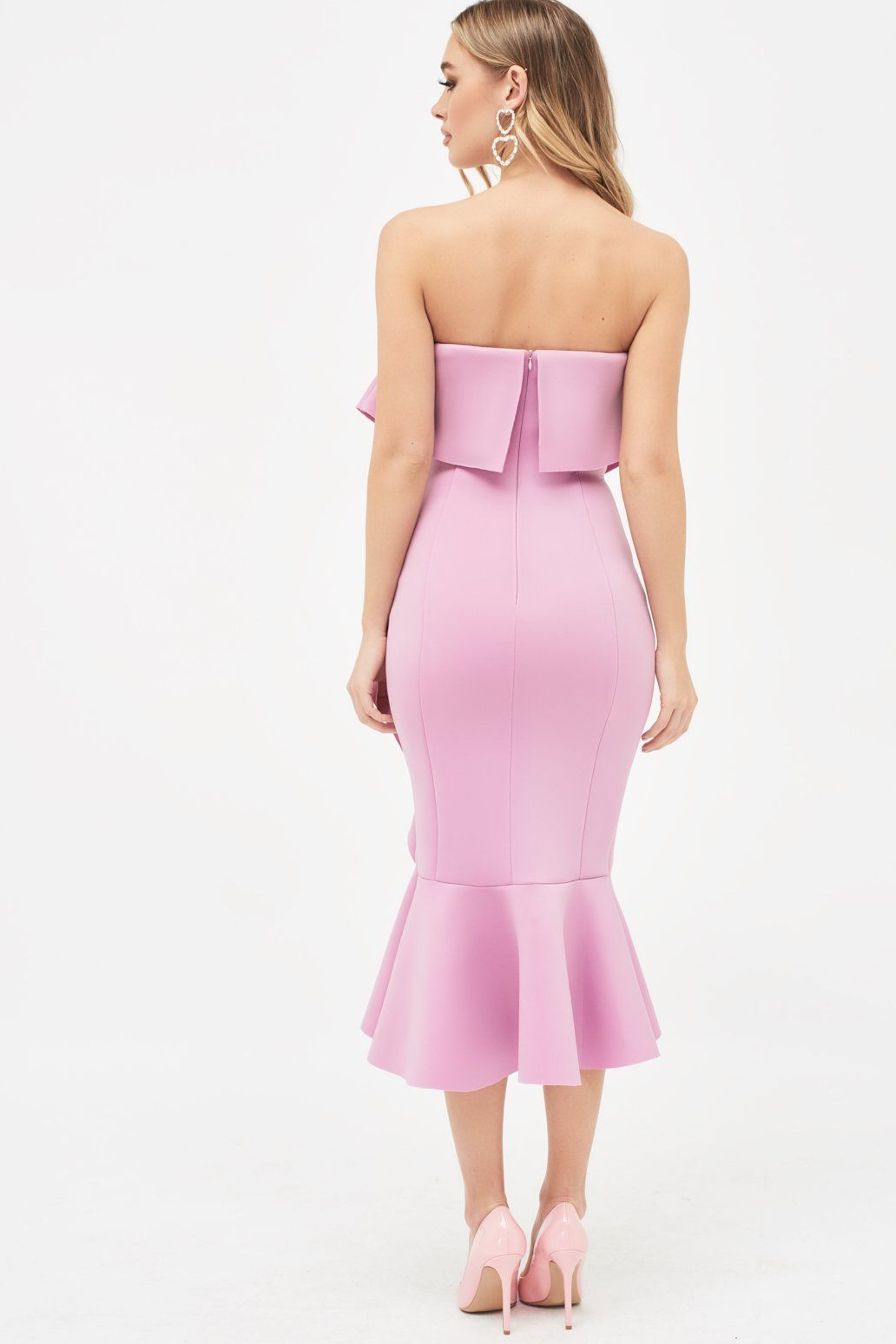 Exaggerated Frill Bandeau Scuba Midi Dress in Lilac