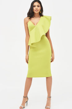 One Shoulder Frilled Scuba Midi Dress in Lime Green