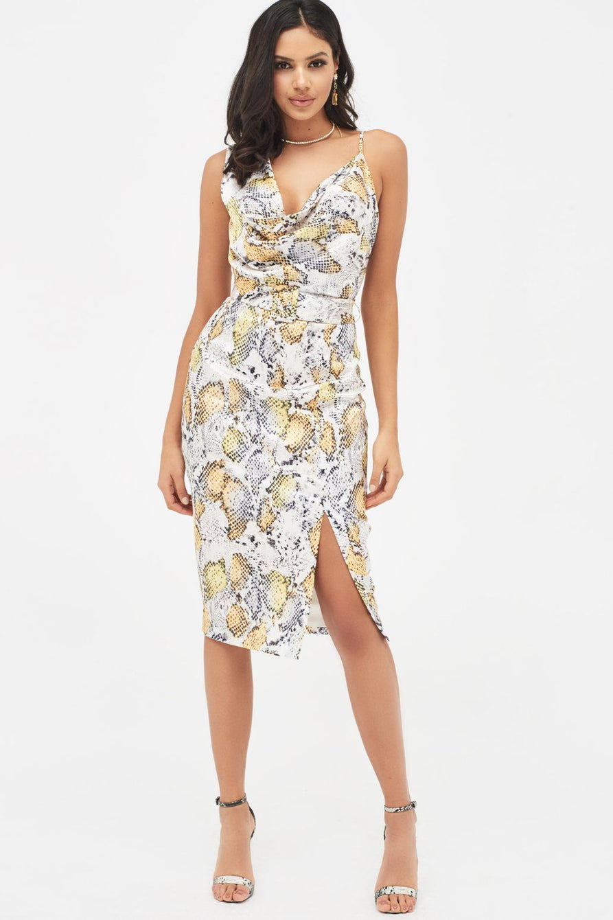 Cowl Neck Belted Midi Dress in Satin Yellow Snake Print
