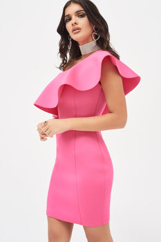 Exaggerated Frilled Scuba Mini Dress in Hot Pink