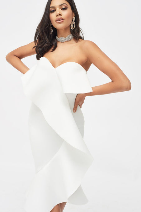 Exaggerated Frill Bandeau Scuba Midi Dress in White