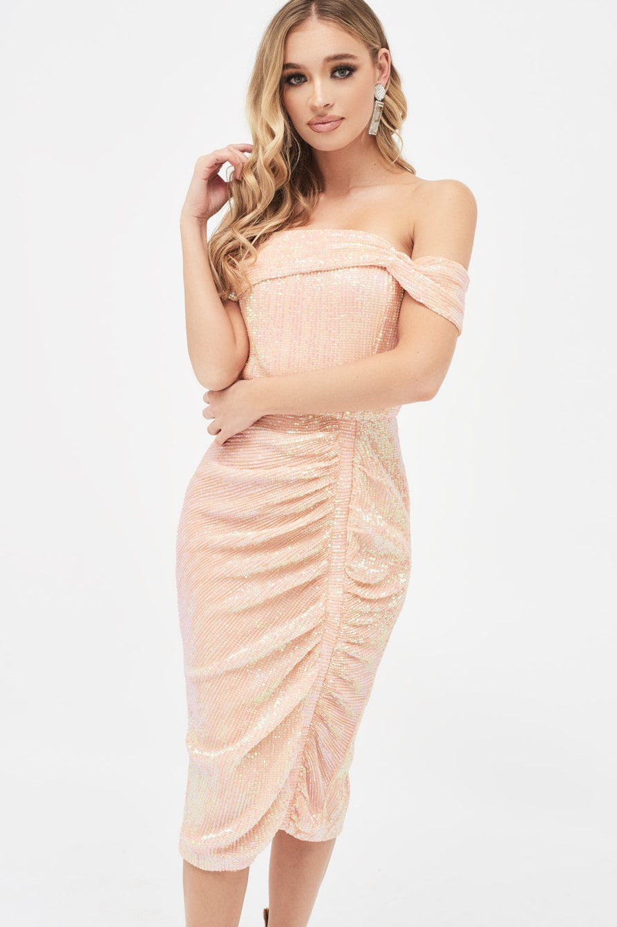 Off Shoulder Ruched Midi Dress in Light Pink Sequin