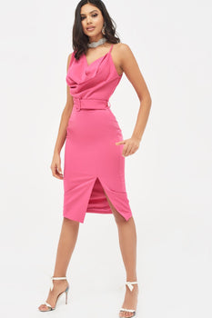 Cowl Neck Belted Midi Dress in Hot Pink
