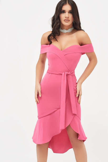 Bardot Ruffle Dress in Hot Pink