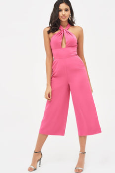 Halterneck Twisted Culotte Jumpsuit in Hot Pink