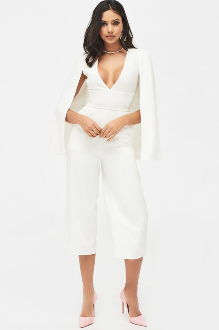 Culotte Leg Cape Jumpsuit in White