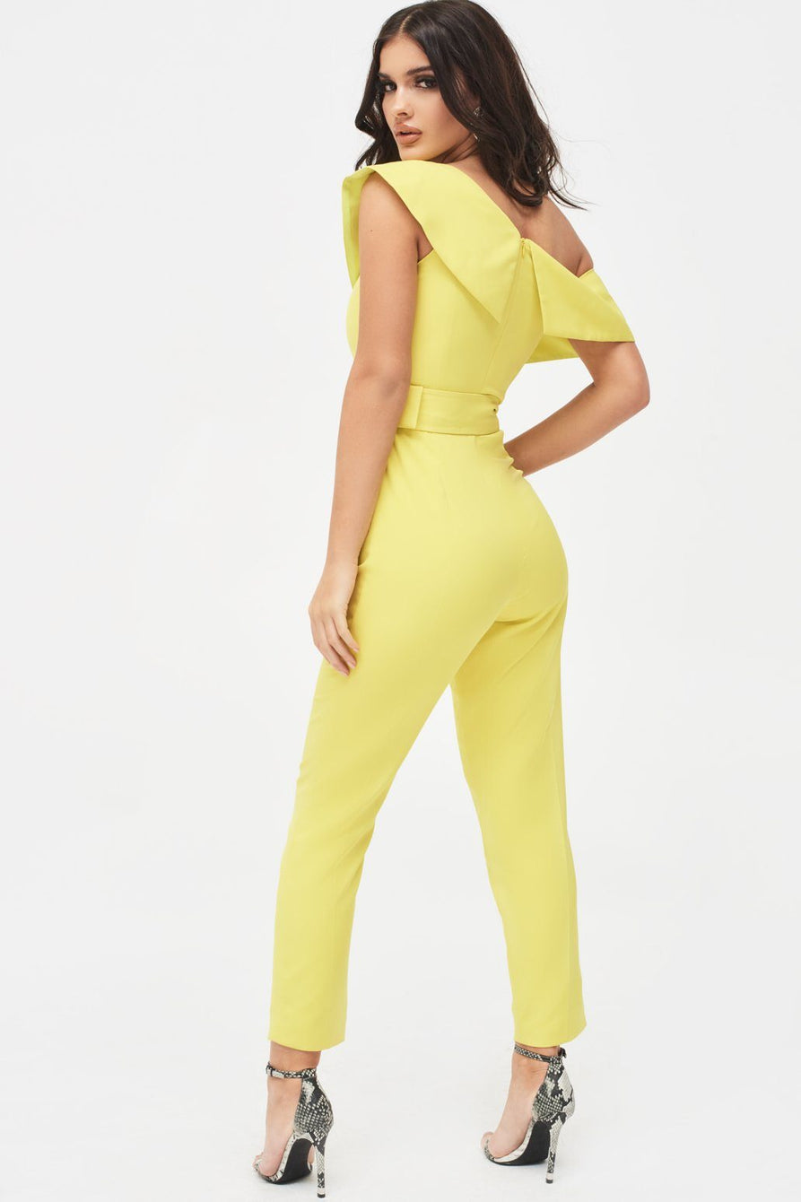 Off The Shoulder Tailored Jumpsuit in Acid Yellow