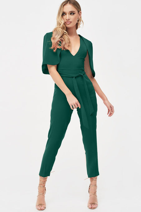 Curved Cape Jumpsuit in Forest Green
