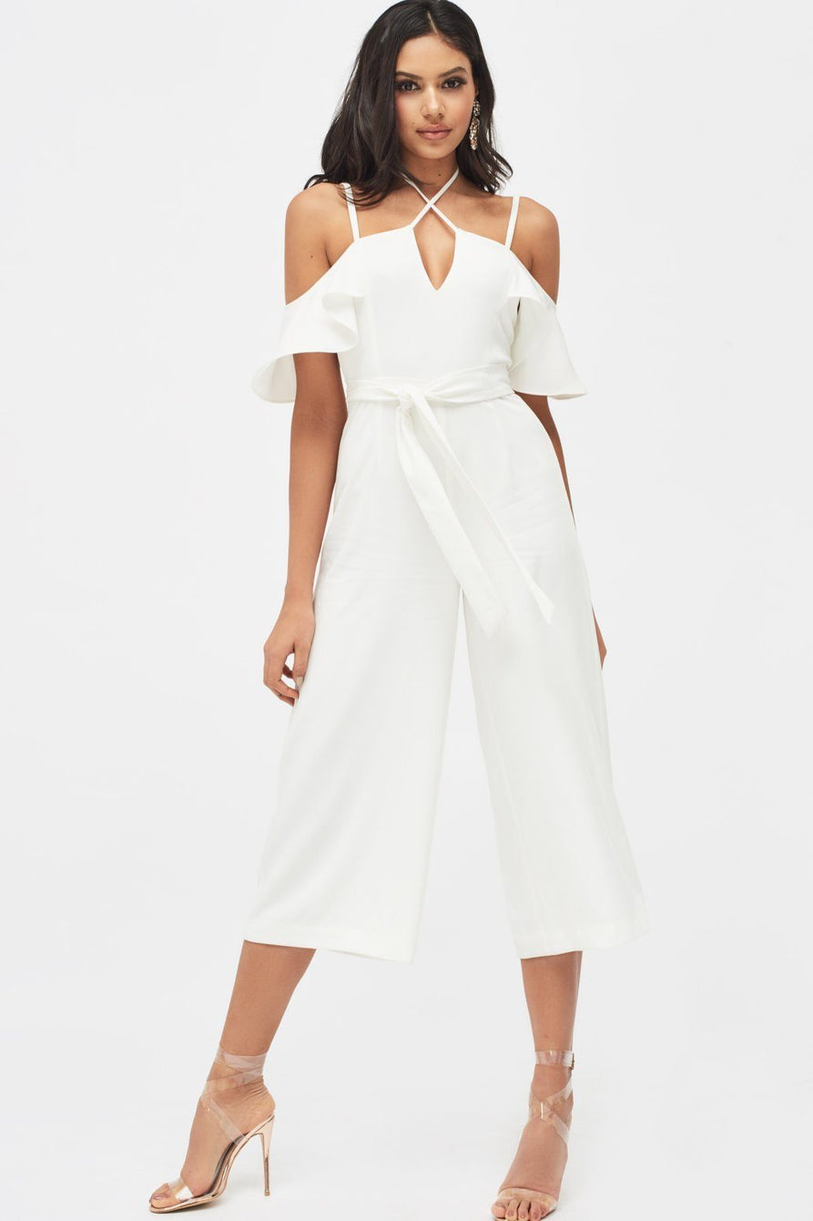 Strappy Neck Ruffle Culotte Jumpsuit in White