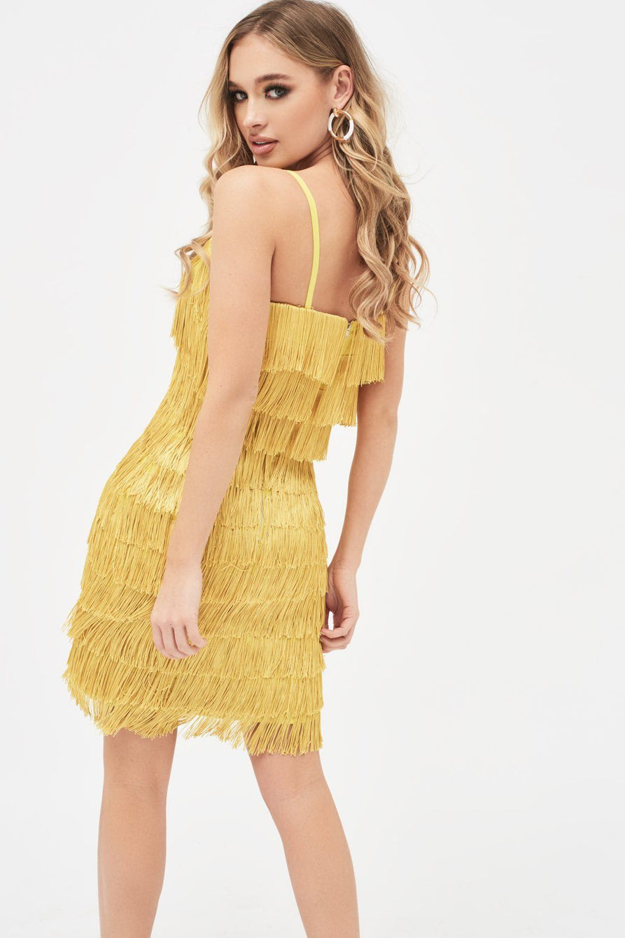 Chevron Fringe Mini Dress in Acid Yellow