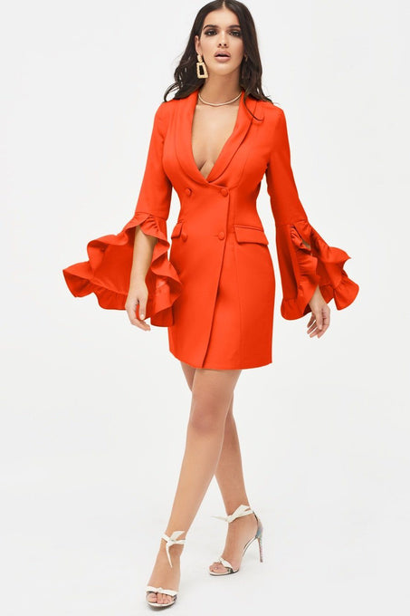 Ruffle Bell Sleeve Mini Blazer Dress in Orange
