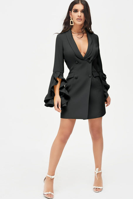 Ruffle Bell Sleeve Mini Blazer Dress in Black