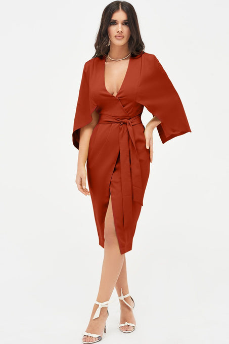 Cape Midi Wrap Dress in Rust