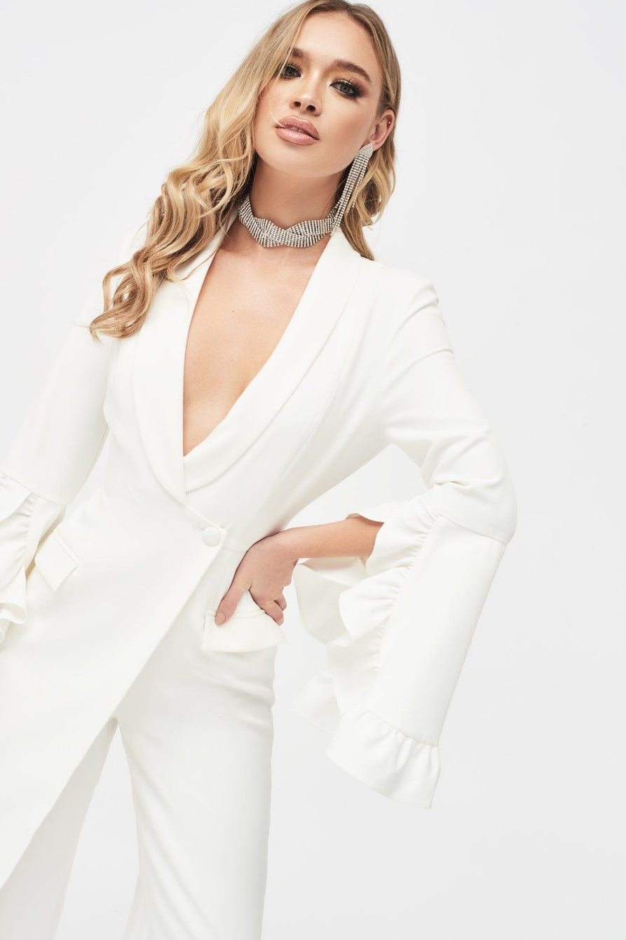 Ruffle Bell Sleeve Culotte Jumpsuit in White