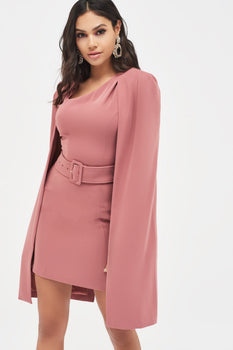 Asymmetric Neck Mini Cape Dress in Dusty Rose