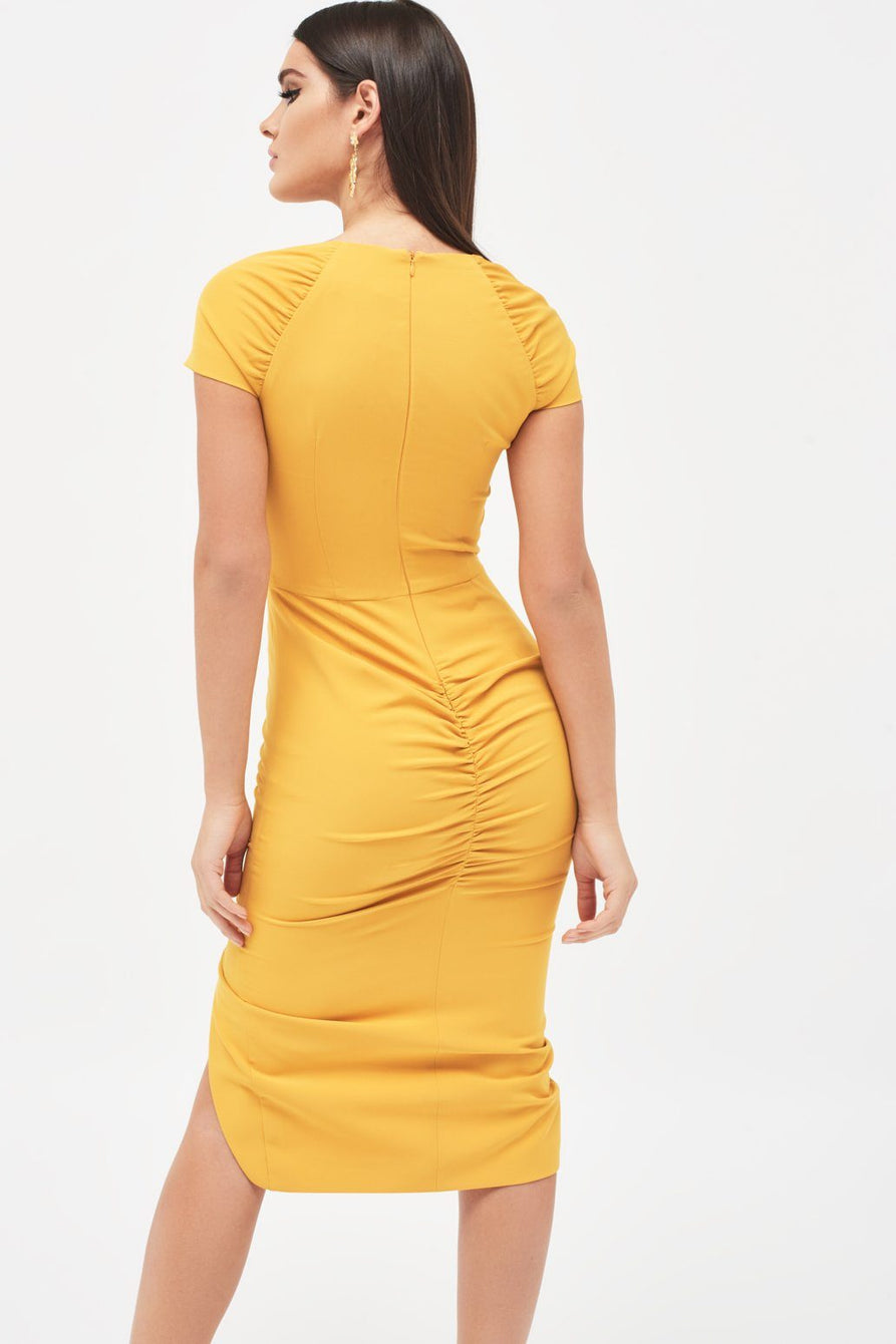Square Neck Ruched Midi Dress in Mustard Yellow