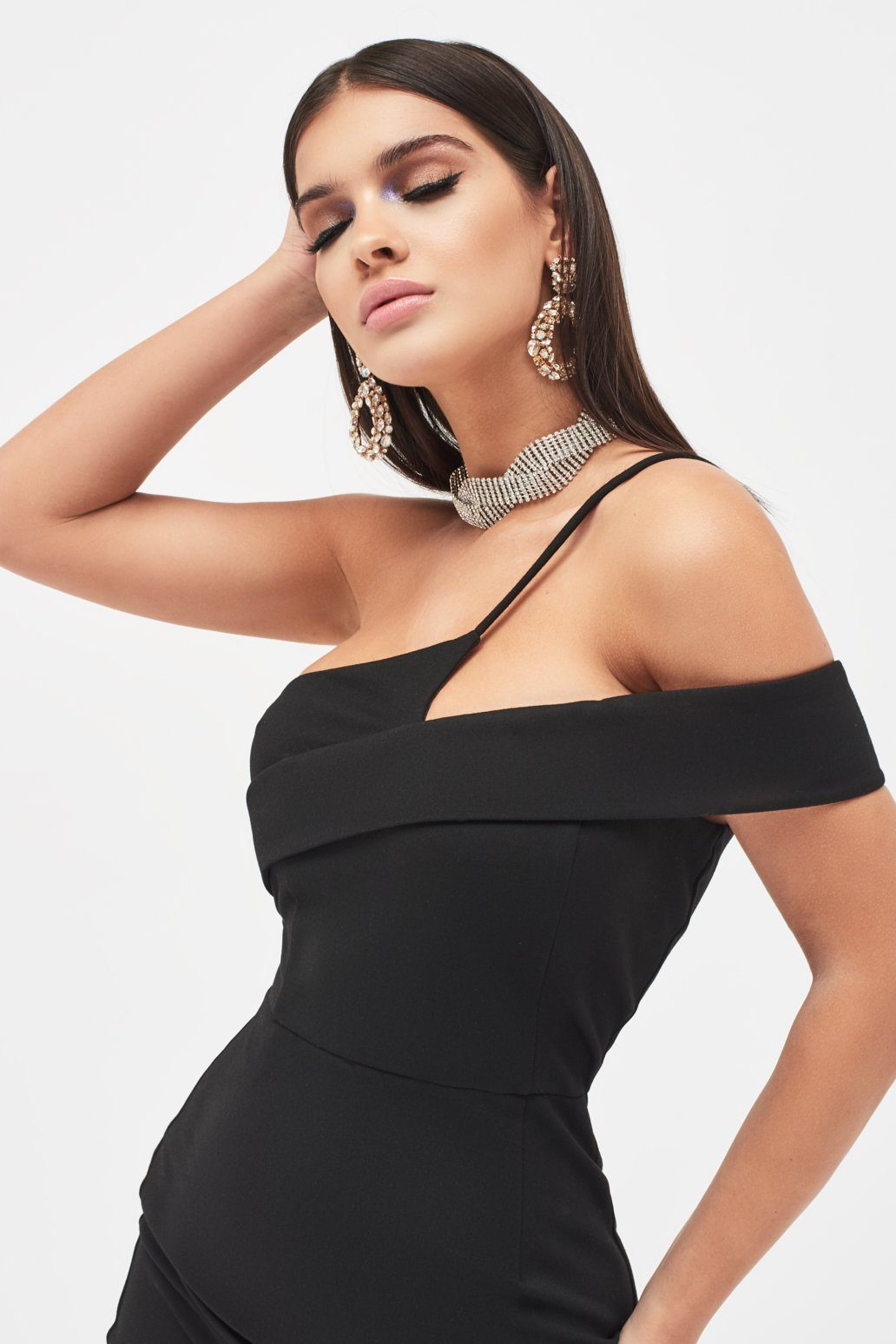 Strappy Off Shoulder Midi Dress in Black