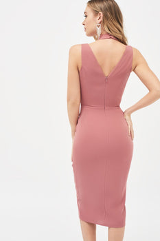 Cross Over Neck Midi Dress in Dusty Rose