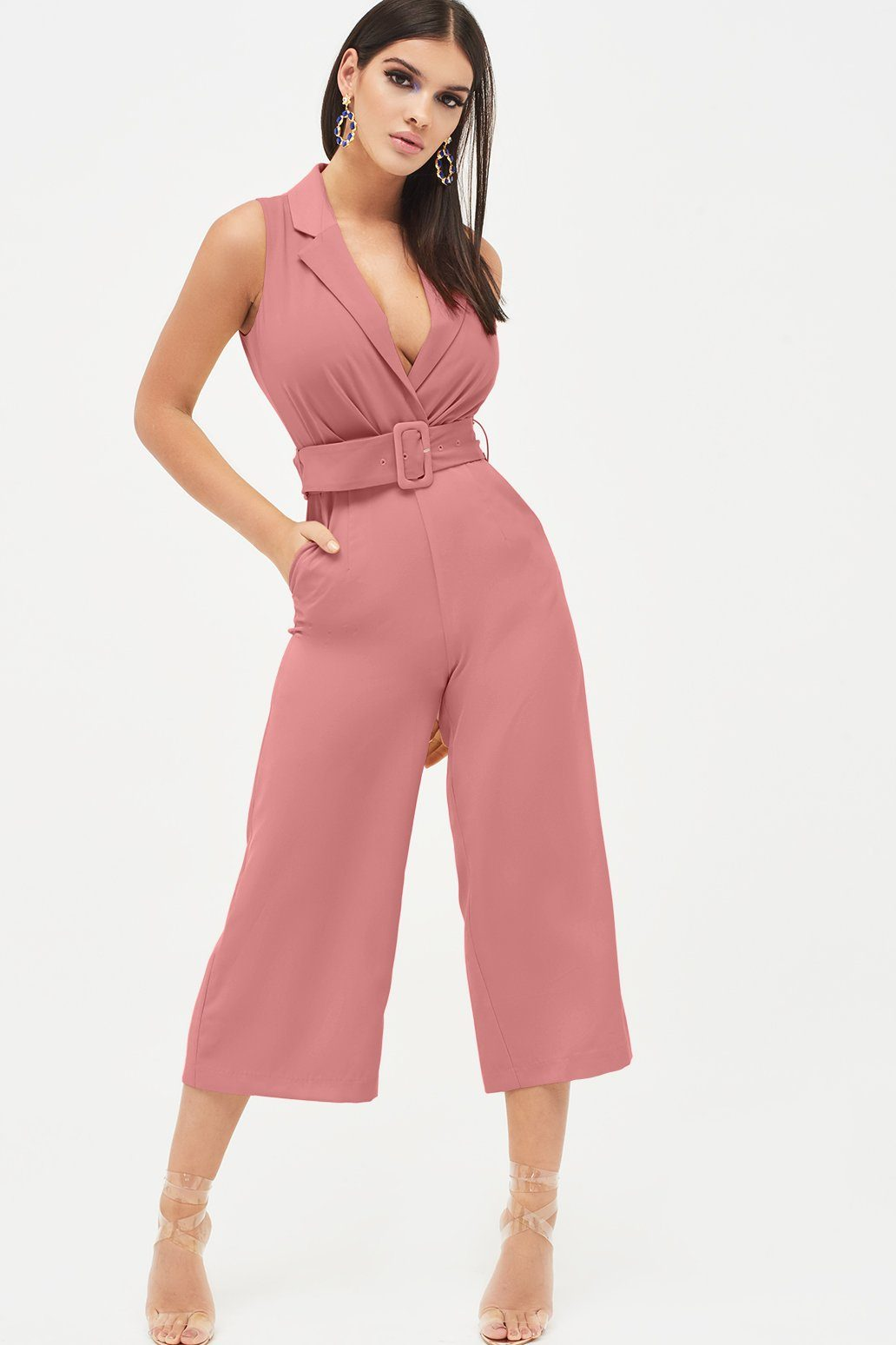 Tailored Wrap Culotte Jumpsuit in Dusty Rose