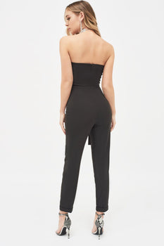 Bandeau Side Tie Jumpsuit in Black