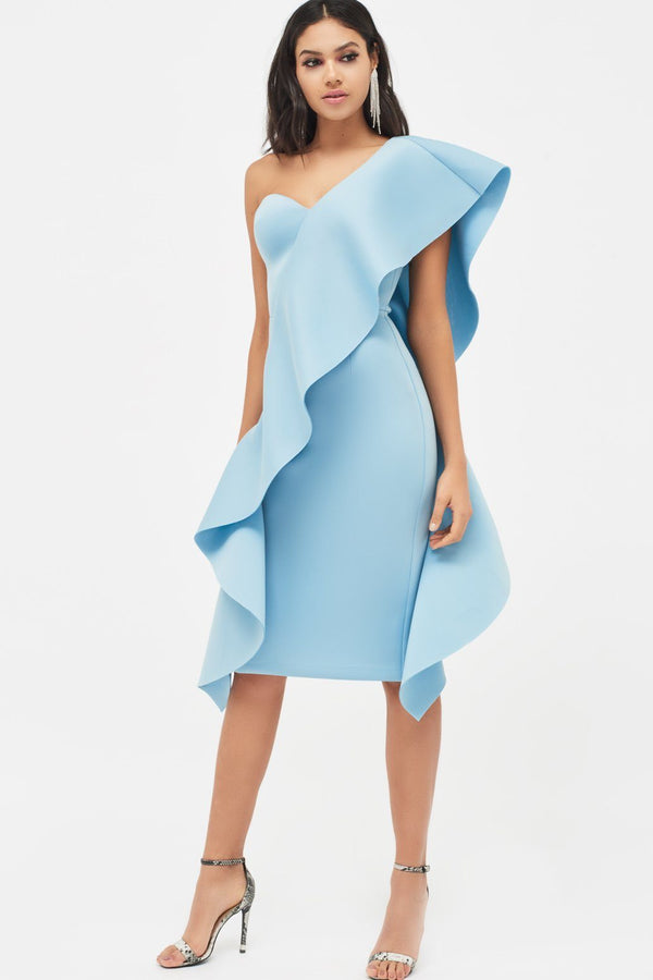 260224ff7464 Exaggerated Frill One Shoulder Scuba Midi Dress in Dusty blue ...