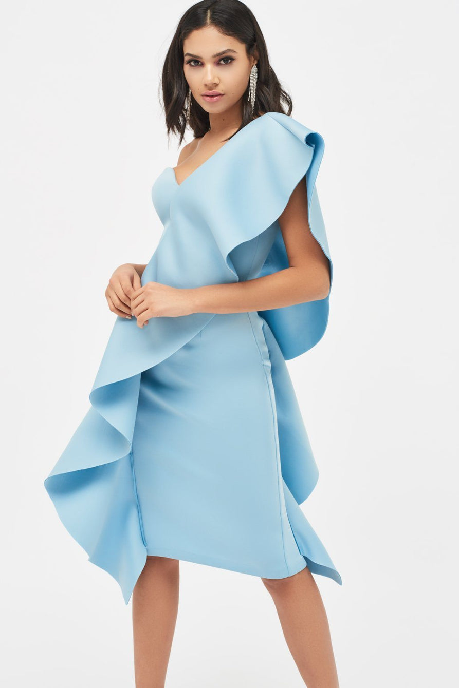 76239cc28d Exaggerated Frill One Shoulder Scuba Midi Dress in Dusty Blue ...