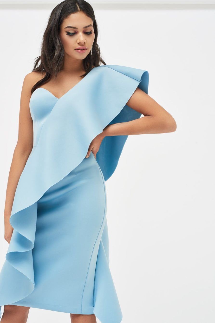 Exaggerated Frill One Shoulder Scuba Midi Dress in Dusty blue