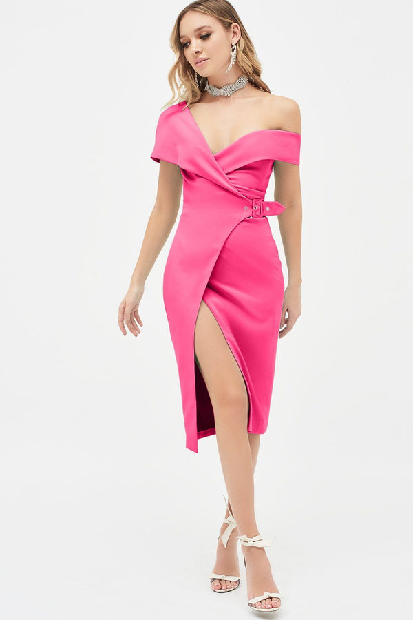 12ed86a3e4c5a Off Shoulder Buckle Detail Wrap Dress In Fuchsia ...