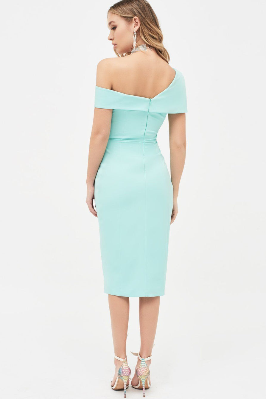 Off Shoulder Buckle Detail Wrap Dress in Mint