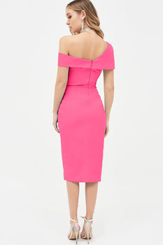 Off Shoulder Buckle Detail Wrap Dress In Fuchsia