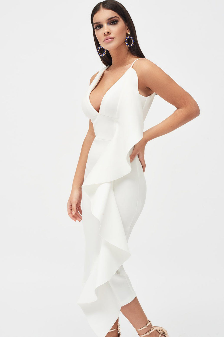 Draped Frill Midi Scuba Dress in White