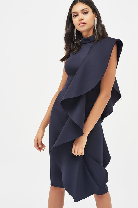 Scuba Frilled Midi Dress in Navy