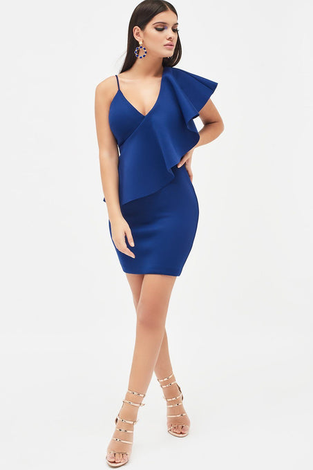 Exaggerated One Shoulder Frill Scuba Mini Dress in Cobalt Blue