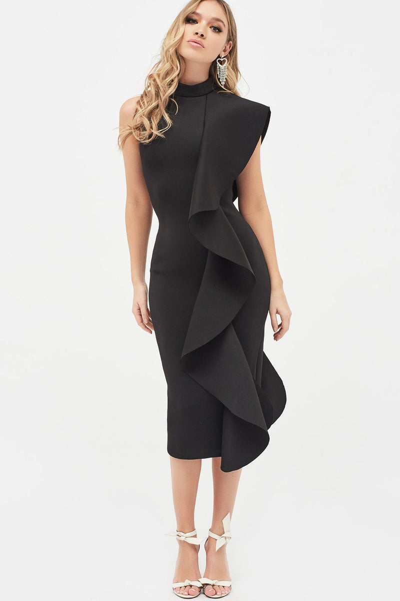 Scuba Frilled Midi Dress in Black