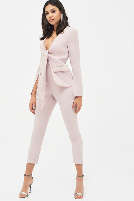Tie Front Blazer Style Tailored Jumpsuit in Dusty Pink