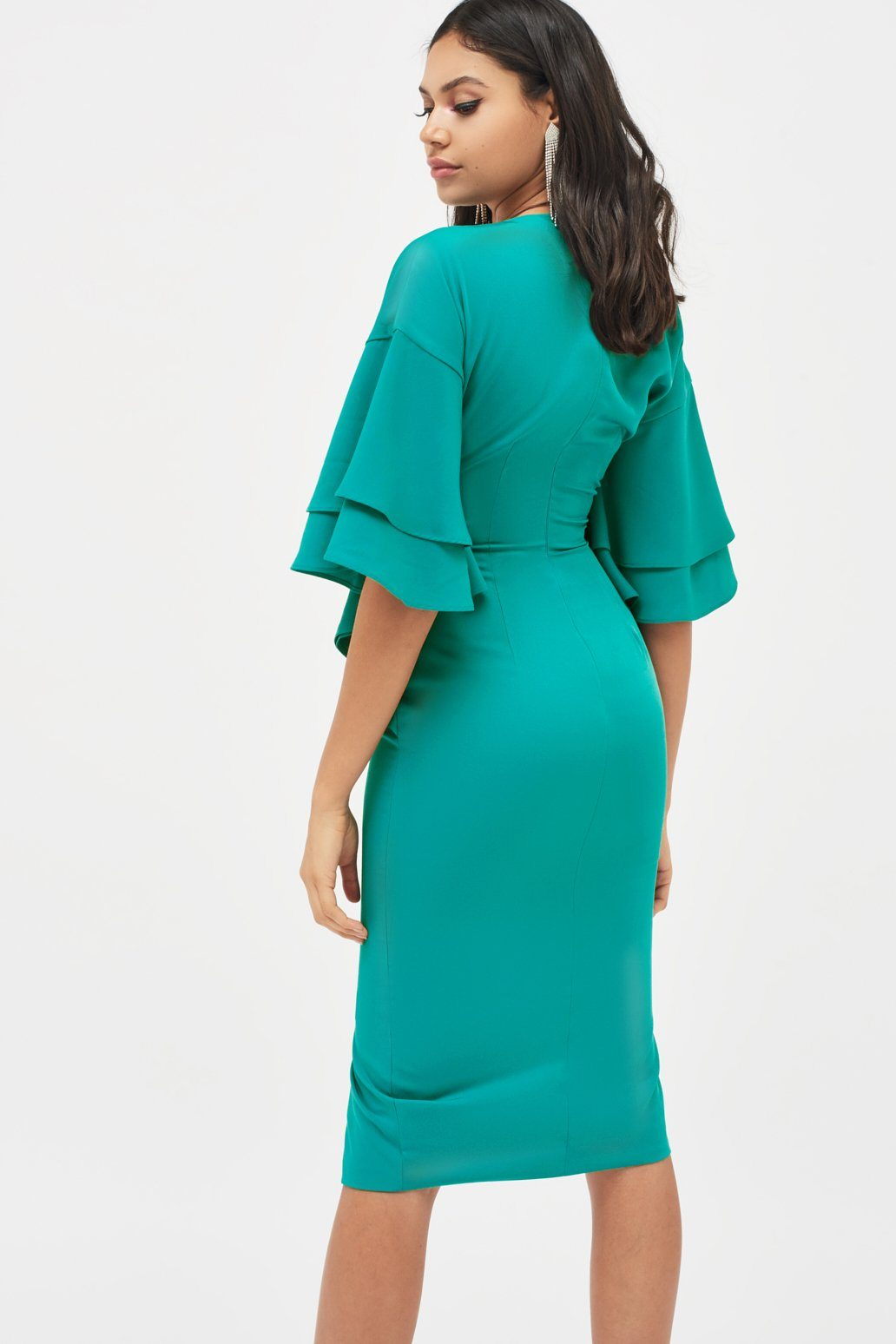 Exaggerated Double Frill Sleeve Woven Midi Dress in Jade Green