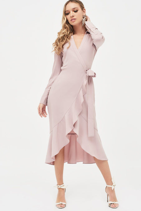 Frill Hem Wrap Front Shirt Dress in Pink