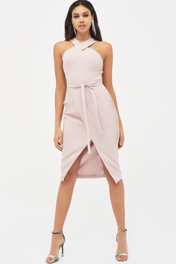 db052352ac0 ... Halter Neck Wrap Front Midi Dress in Dusty Pink
