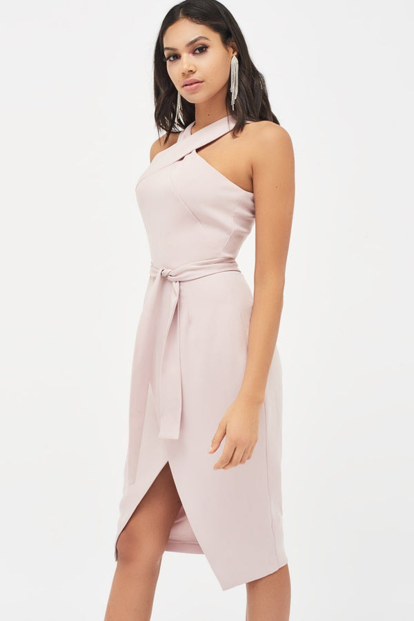 0f1e47516c Halter Neck Wrap Front Midi Dress in Dusty Pink ...