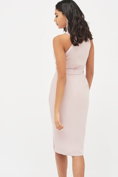 Halter Neck Wrap Front Midi Dress in Dusty Pink