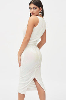 Iridescent Sequin Sleeveless Midi Dress In White
