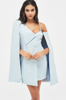 One Shoulder Fold Back Collar Cape Blazer Dress in Dusty Blue