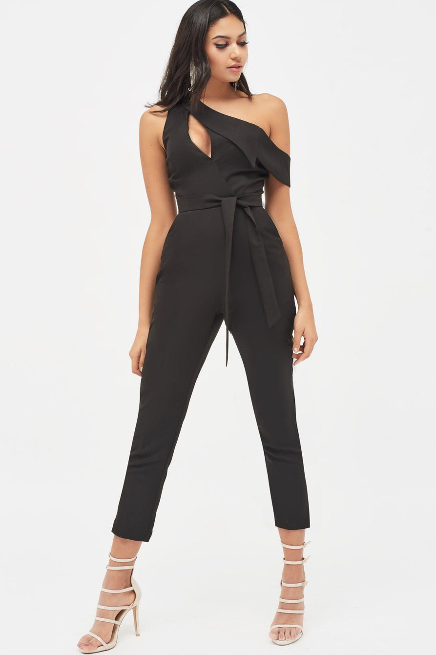 Cut Out One Shoulder Lapel Tailored Jumpsuit in Black