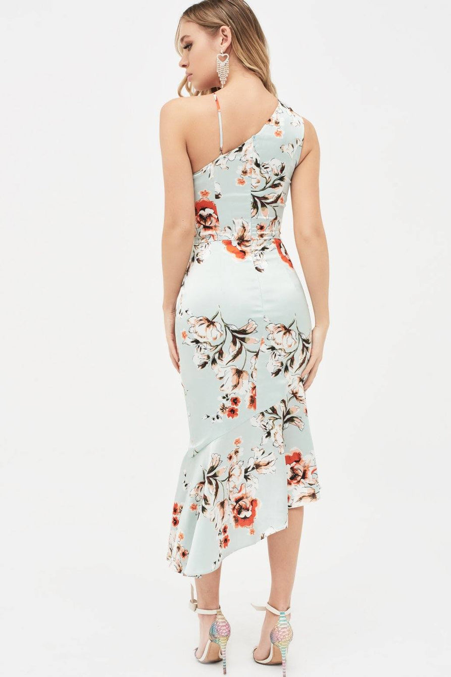 One Shoulder Cut Out Asymmetric Midi Dress In Floral Print