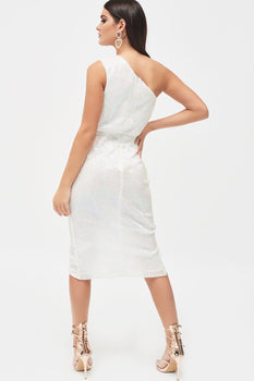 Pleated Sequin One Shoulder Cut Out Ruched Side Midi Dress In White
