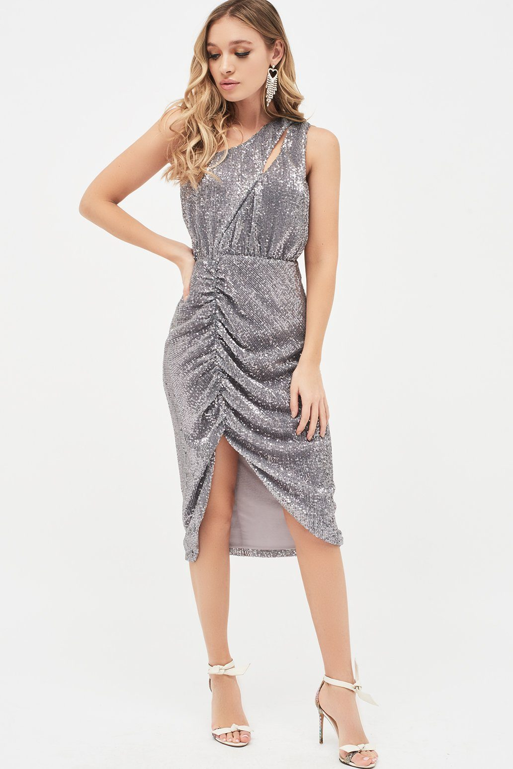Lavish Alice Pleated Sequin One Shoulder Cut Out Ruched Side Midi Dress in Grey