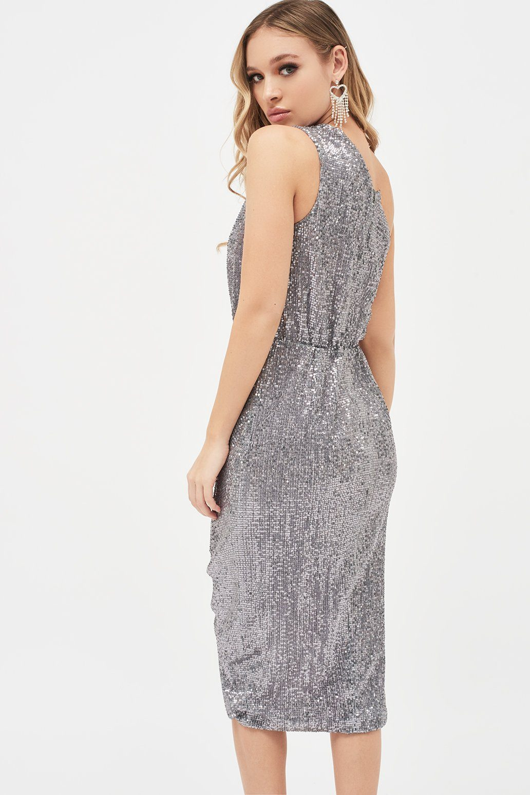 Pleated Sequin One Shoulder Cut Out Ruched Side Midi Dress in Grey