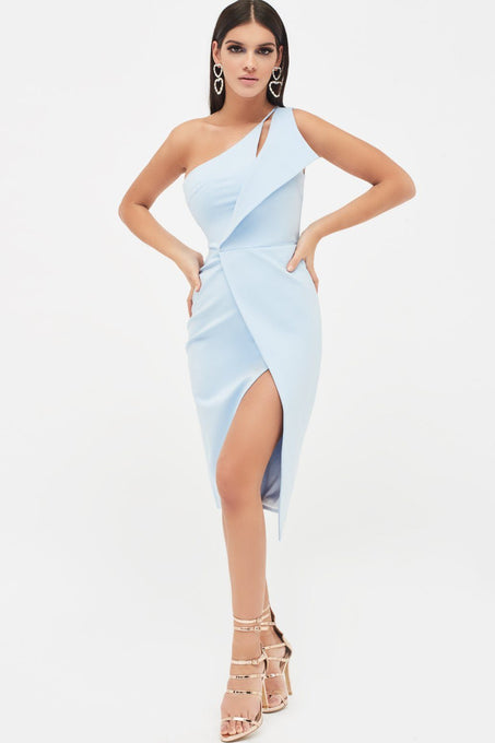 One Shoulder Midi Wrap Dress in Baby Blue