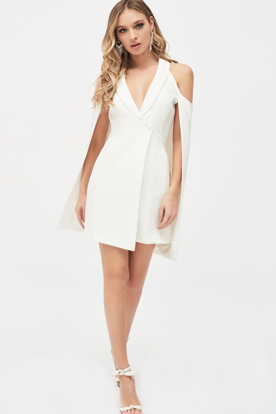 Cold Shoulder Fitted Cape Blazer Dress in White